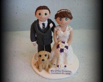 Wedding Cake Topper, Custom Cake Topper, Bride and Groom, Dog, Polymer Clay, Wedding/Anniversary Keepsake