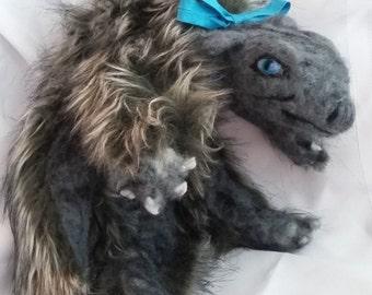 floppy dragon grey plush needle felted toy