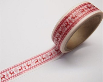 Festive Red Reindeer Rudolph Washi Tape 15mm x 11yards WT315