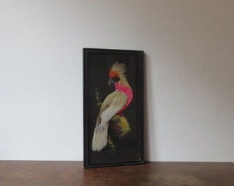 Vintage '50s Mid Century Famous and Barr Co. Framed Feather Art, Exotic Bird Wall Hanging - Hand Painted, Made of Feathers!