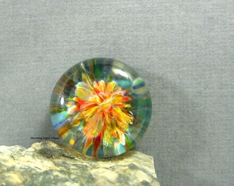 18mm Lampwork Glass Cabochon for Jewelry Making - Colors of the Sea - Frit Implosion