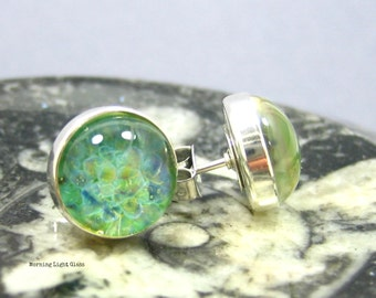 Lampwork Glass Earring Studs - Spring Time - Boro Frit Implosion Cabochon and Sterling Silver 10mm