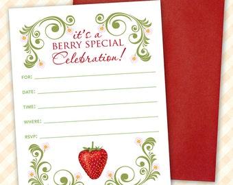 Strawberry Birthday Party Invitation, Printable Invitation, Strawberry Invitation, Berry Summer Party, Blank Invitation Template