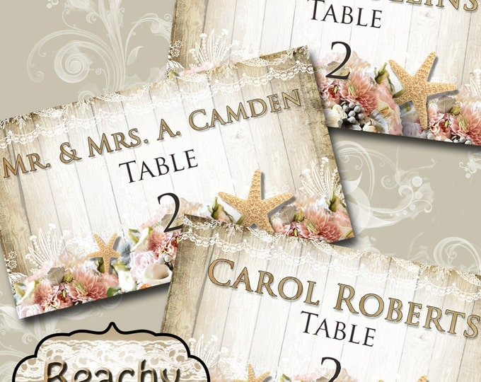 BEACHY•Guest Table FLAT Place card•3.5x2 inches•Diy Wedding•Bridal Shower•Baby Shower•Seating Numbers•Wedding Decoration