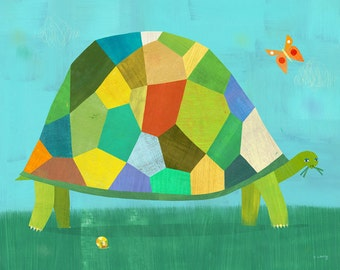 """Tortoise and Butterfly 10"""" x 8"""" Art Print"""