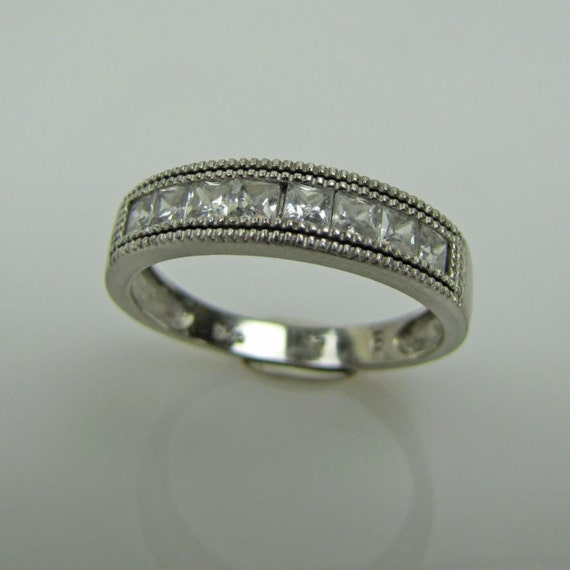 mens sterling silver cubic zirconia cz wedding band ring faux