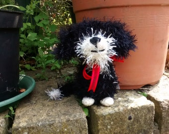 Colin the black and white Border Collie pup crochet soft toy