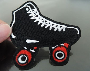 Roller Skates Patches - Iron on or Sewing on Patch Roller Skate Patch Black or White Shoe Patch Sport Patch Embellishments Embroidery fonts