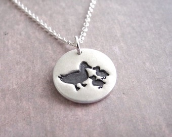 Small Mother and Two Ducklings Necklace, Mom and Two Kids, New Mom Jewelry, Twin Ducks, Fine Silver, Sterling Silver Chain, Made To Order