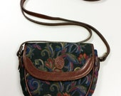 Liz Claiborne Tapestry & Leather Mini Purse