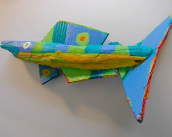 Fish Art created from driftwood that is painted in bright colors ready to hang for colorful wall decor