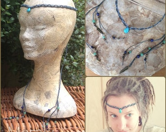 Blue Howlite Tiara, Circlet, Necklace, Macrame