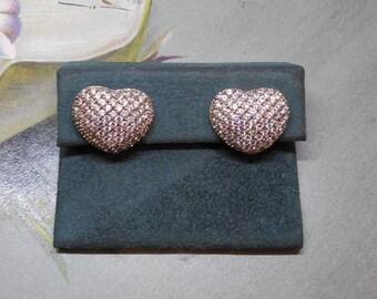 STAUER Sterling Silver & CZ Heart Shaped Pierced Earrings
