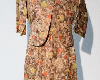 Vintage 1960's Floral Metallic Shift Dress w/ Matching Jacket