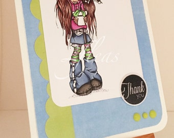 one-of-a-kind, hand coloured, thank you greeting card