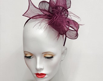 Cranberry  sinamay fascinator with ostrich feathers headband fixing  wedding races