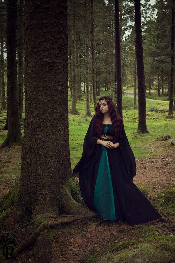 LIMITED EDITION  medieval costume summer surcoat dress elven coat black