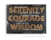 Serenity Prayer Painting Original Artwork, Large Black and Gold Hand Painted Wall Sign, Inspirational Vintage Style Wall Decor, Wall Art