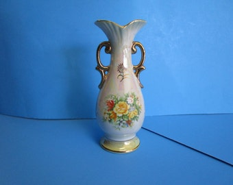 Pearl Luster vase with Flowers, Imported by Giftcraft Toronto, Made in Japan