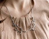 Branch / twig / antler woodland bib necklace, silver tone, twig jewelry, whimsical statement necklace, A Love Affair