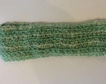 Alpaca Headband/Ear Warmer - Sea Foam Green/White