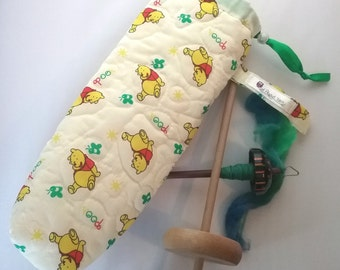 Quilted spindle bag spinning Winnie the Pooh