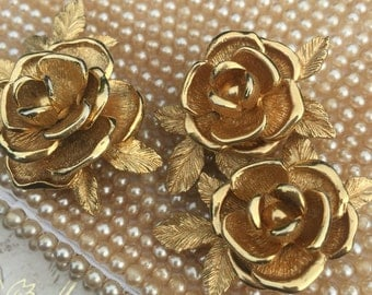Vintage Sarah Coventry American Beauty Gold Tone Rose Brooch and Earring Set, Rose Pin, Estate Jewelry