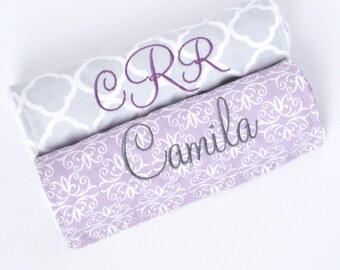 Personalized Burp Cloth Baby Girl - Monogrammed Baby Gift - Gray and Purple