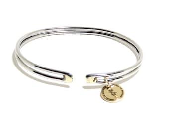Sterling Steel and Silver Bracelet, Cuff, Women, Men, Mirror Finish, Metalwork , BLB 101