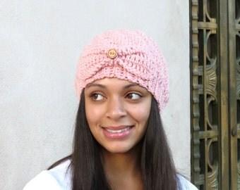 Crochet Beanie Hat, Crochet Cap, Crochet Pink Hat, Crochet Spiral Hat, Color is Pink