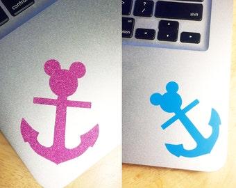 Mickey Mouse Nautical Anchor Sea Sailor Disney World Die Cut Vinyl Decal, You Choose Your Color!