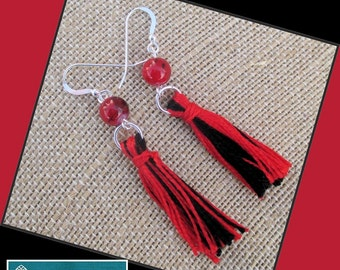 Red and Black Tassel Earrings with Sterling Silver Filled Hooks, Her Boho Earrings, Her Tassel Earrings, Long Dangle Statement Earrings