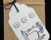 Sewing Machine Theme Gift Tag, Hand Stamped & Embossed, Black Hemp Cord for Tie, Sewing Machine with Buttons, Choose your Color