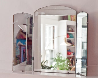 Antique Beveled Glass Mirror Tri Fold