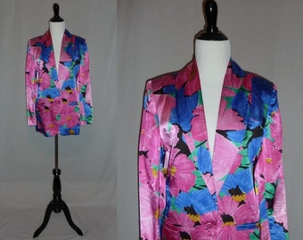 80s Silky Blazer - Big Bold Floral Print - Pink Blue Green Flowers - Oversize Jacket - S M