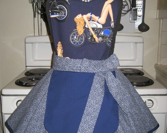 Biker, Pin Up, Sexy Ladies Fancy Hostess Apron with Pinafore