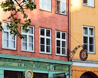 Copenhagen Denmark Print - Travel Photography - Restaurant Print - Kitchen Art - Colorful Architecture Photo - Mint Orange Yellow Pink