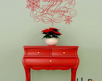 Happy Holidays wall decal sticker - Christmas decor - Snowflakes decal