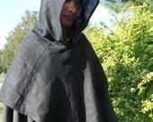 Reserved for kjb: Black Linen Medieval Friar Hood