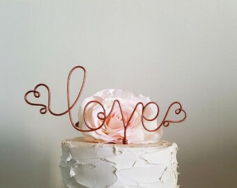 LOVE Wedding Cake Topper, Rustic Wedding Cake Topper, Engagement Cake Topper, Anniversary Cake Topper, Rustic Bridal Shower Cake Decoration