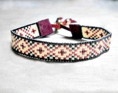 Boho Woven Bracelet - Seed Bead Bracelet - Bead Loom Bracelet - Adjustable Bracelet - Bohemian Bracelet - Brown Bracelet - Womenns Bracelet