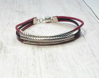 Tube Bead Bracelet - Leather Bead Bracelet - Tube Bracelet - Seed Bead Bracelet - Bangle Bracelet - Womens Bracelet - Valentines Gift