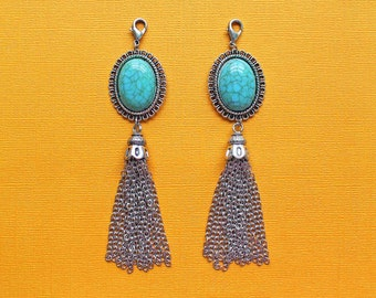Tassel Pendant with Faux Turquoise Stone Attached Lobster Clasp Perfect for So Many Projects Boho Chic Larger Size - Z232
