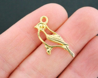 8 Bird Charms Gold Plated 2 Sided Blue Jay - GC707