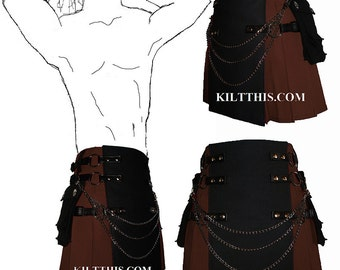 Interchangeable Brown Black Canvas Cargo Utility Kilt Custom Fit Adjustable Many Options