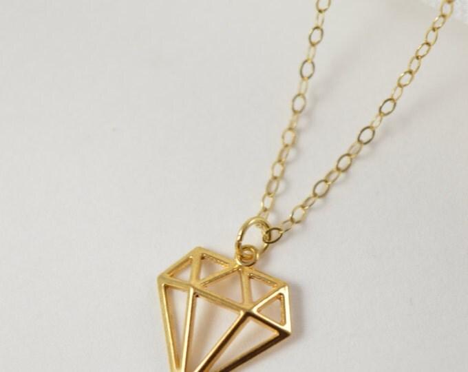 Diamond Charm Necklace, Geometric Jewelry, Faceted Jewelry, Diamond Jewelry