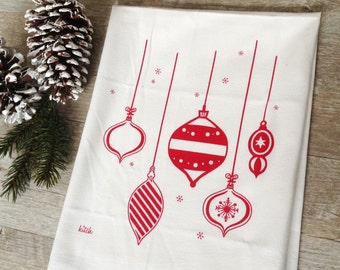 Christmas Tea Towel Retro Ornaments Holiday Flour Sack Dish Cloth Red Kitchen Rustic Minimalist Home Decor Cyber Monday Sale