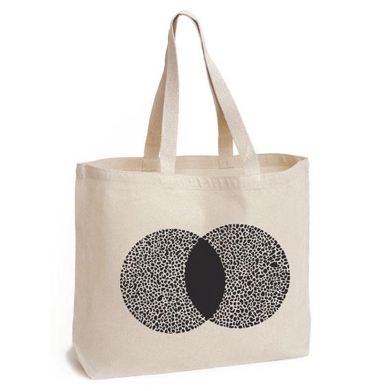 MOON - Maxi canvas bag screenprinted in black