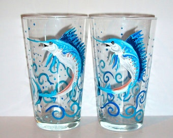 Sailfish Pub Glasses Set of 2 Hand Painted Beer Glasses Bluefish Sea Fish Waves Splashes Fathers Day Gift Dad