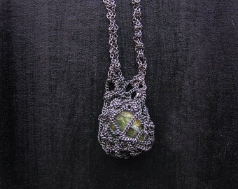 green peridot necklace, oxidized sterling silver, crochet necklace, ooak